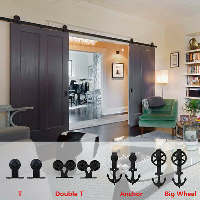 4-20FT Sliding Barn Wood Door Hardware Track Kit Single/Double/Ceiling Mount