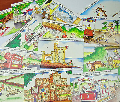 13 X Isle Of Man Comic Postcards Manx Cat Fishmonger Laxey Wheel Horse Tram
