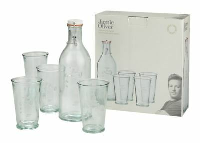 Jamie Oliver - Recycled Spanish Glass 5 pce Water Bottle and Tumbler Set  (Made