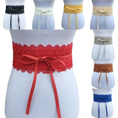 Womens Lady Stretch Buckle Waist Belt Bow Wide Lace Elastic Corset Waistband H