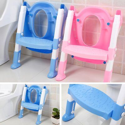 Toddler Kids Toilet Potty Trainer Seat Step Up Training Stool Chair With LaddeVZ