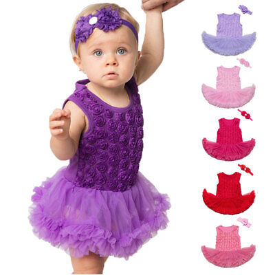Lace Rose Wedding & Birthday Party Outfits Multi Color Baby Girl Lace Dress Bow