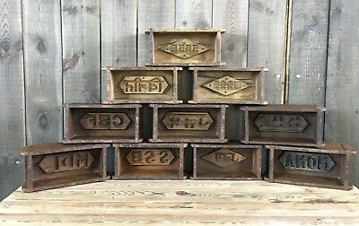 Vintage Rustic Wooden Brick Mould Box Storage Shelving Display