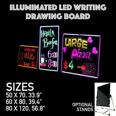 LED Illuminated RGB Writing Drawing Message Board Business Sign 3 Sizes Remote