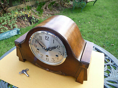 Restored German, westminster chime, mantle   clock, 1930s- 1940s. With key.