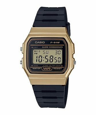 Vintage Casio F-91WM-9A Digital Watch Black Gold Resin Band NEW F91 F-91