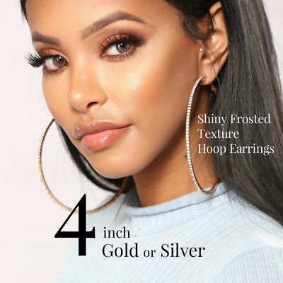 4 Inch Gold Or Silver Rhinestone Shiny Frosted Texture Large Hoop Earrings