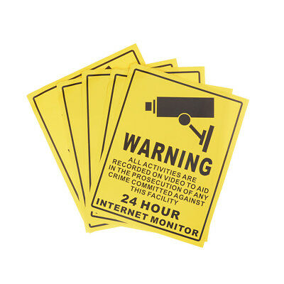 5pcs CCTV 24Hours Internet Monitor Security Sign Waterproof Warning Stickers IU