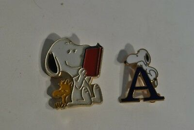 2 Vintage Aviva Snoopy Reading Book and letter A Lapel Pins