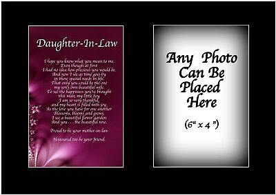 Daughter In Law Poem Personalised With ANY PHOTO Birthday Present Christmas Gift