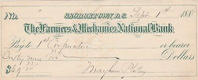 Georgetown, D.c.   Old Check    1885
