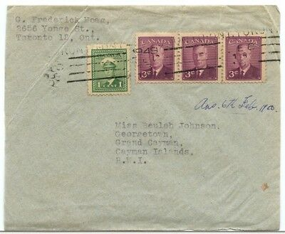 George VI airmail to CAYMAN ISLANDS 1949 Canada cover
