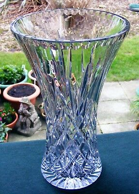"Beautiful 10"" Cut Glass Crystal Bouquet Vase - Diamonds, Fans , Mitres"
