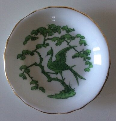 Rare Vintage EVERGREEN Butter Pat By ROYAL CHELSEA ~Green Exotic Bird & Foliage