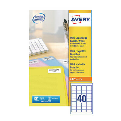 Avery Laser Mini Labels 40x25Sheets White (Pack of 1000)