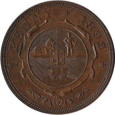1892 South Africa 1 Penny Coin KM#2 UNC Mintage 83K
