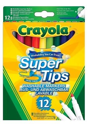 Crayola 12 Bright Supertips  - Washable Markers  Brand New FREE DELIVERY