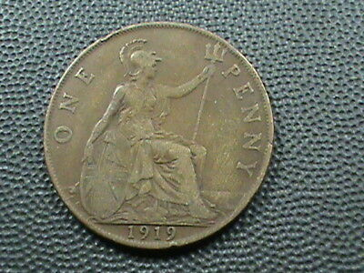 GREAT BRITAIN   1 Penny   1919   ,   $ 2.99  maximum  shipping  in  USA