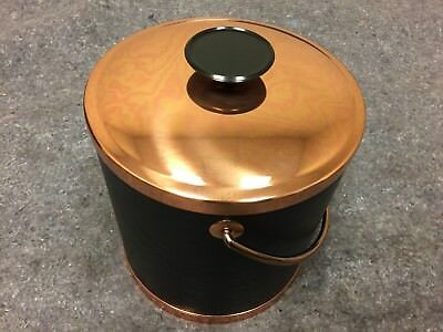 Vintage Coppercraft Guild Black Faux Leather & Copper Ice Bucket