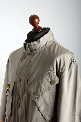 Men's BARBOUR International Short Cotton Grey Biker Jacket Coat Size XXL