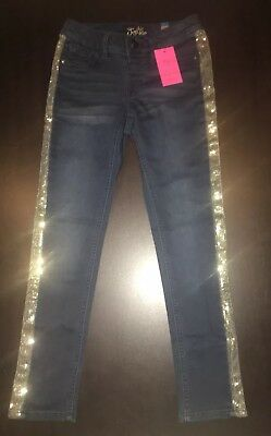 NWT!! Justice Girls Knit Jegging Jeans with Gold Sequin down the sides Size 8