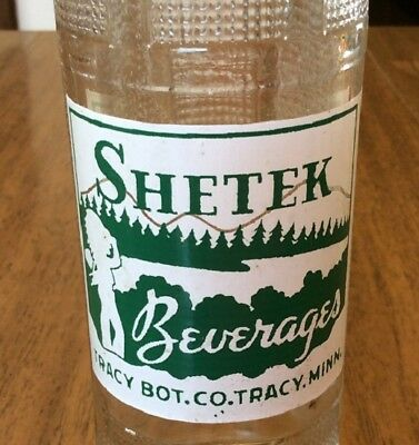 1940's SHETEK BEVERAGES ACL Soda Pop Bottle 7 oz TRACY Minnesota With Indian