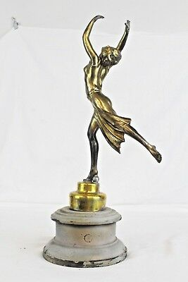 Art Deco Spelter Figure On (Painted) Wooden Base - Needs Some Work          #cr#