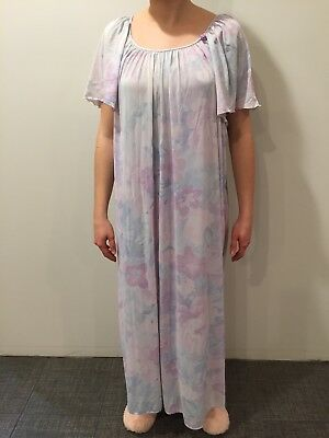 Vintage Miss Elaine Baby Doll Nightgown Antron Nylon Purple Blue Floral XL