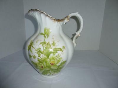 Large Ironstone Wash Basin PITCHER ONLY - Green Floral on White w/Gold Highlight