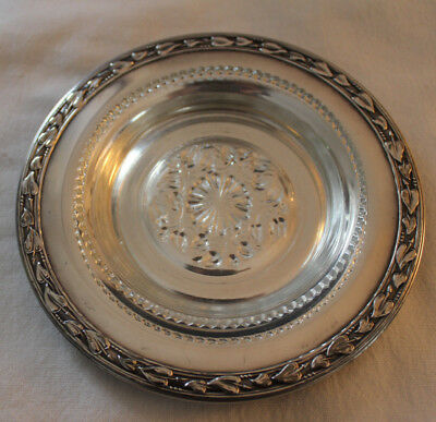"""Wm. A. Rogers Silverplate Small Low Dish with Glass Insert Meadowbrook 5.5"""""""