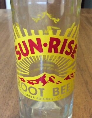 SCARCE  & Unusual SUNRISE Root Beer ACL Soda Pop Bottle 8 oz Coca Cola Bottling