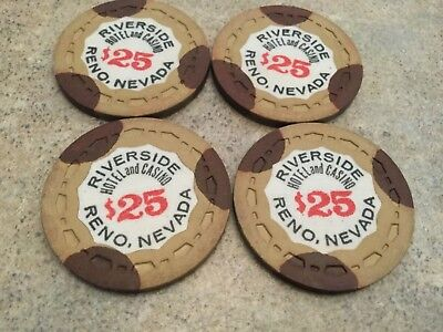 $25 Riverside Hotel Casino Chip Poker Chips Lot Of 4 Reno Nevada Gambling