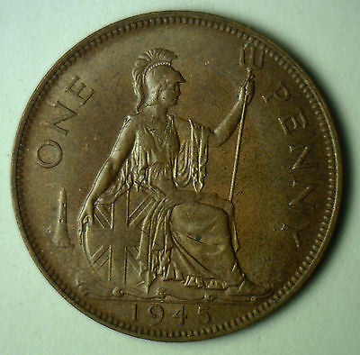 1945 Bronze One Pence UK One Penny Britain Coin XF-2