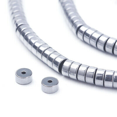 3Strands Electroplate Non-Magnetic Hematite Beads Flat Round Platinum 4x2mm