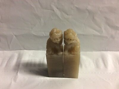 2 Vintage Chinese Jade Or Quality Stones Carving Blank Chop Seal Foo Dog Dragon