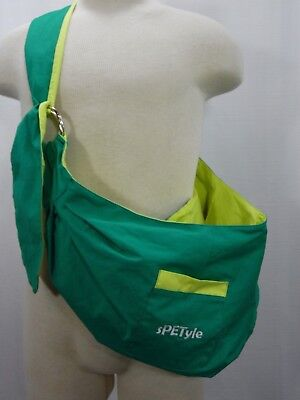 SPETYLE Hands Free Reversible Pet Bag Sling Carrier Adjustable Green Yellow