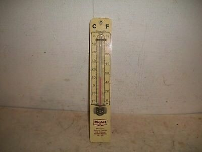 Vtg 1930's Mobil Oil Gas Wood Thermometer Bridger's Service North Haven Ct Maine