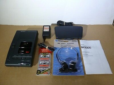 SONY M-2000 Microcassette Dictation Transcriber System & Tapes