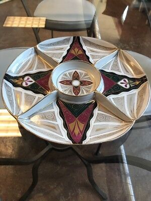 Unique Divided Alhambra Hand Painted Platter Tray