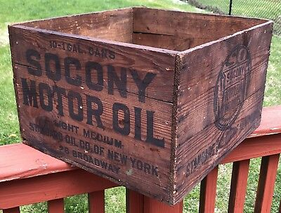 Early 1900's SOCONY STANDARD OIL CO MOTOR OIL Wooden Box CRATE Sign Gas VTG RARE