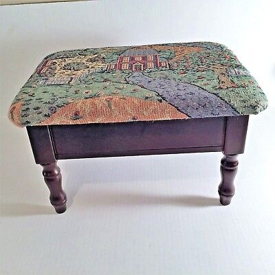 Vintage Wooden Footstool With Upholstery Lid