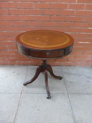 A Dark Brown  Round Leather Inlay Coffee Table ***DELIVERY AVAILABLE***