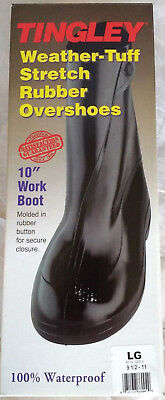 "Tingley Weather-Tuff Stretch Rubber Overshoes 10"" Work Boot w/ Button - LARGE"