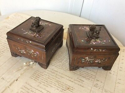 Pair Antique Chinese Vietnamese Hardwood Inlaid Mother Of Pearl Lided Boxes