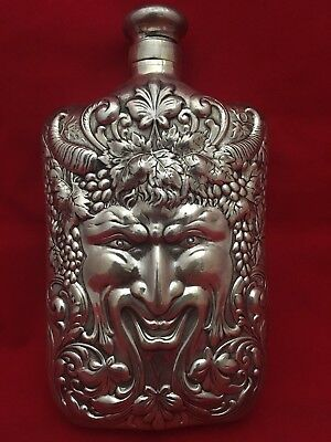 Tiffany & Co Sterling Silver Rare Flask Liquor Bacchus God Of Wine Repousse