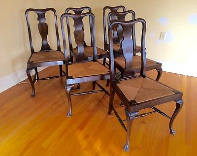 Set Of 6 Quality Vintage Country Queen Anne Mahogany Dining Chairs Circa 1930