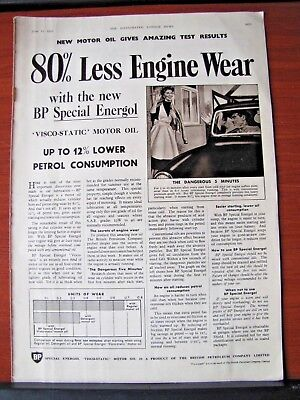 Vintage- BP British Petroleum Motor Oil- 1955 magazine advertising- 10x14 inches