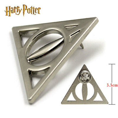 Harry Potter Deathly Hallows Symbol Silver Metal Badge Pin Button Brooch Chest