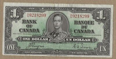 1937 Canadian one dollar banknote circulated Bank of Canada BN