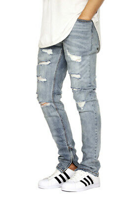 MEN/'S DESTROYED ANKLE ZIPPER SKINNY PANTS KDNK KD502